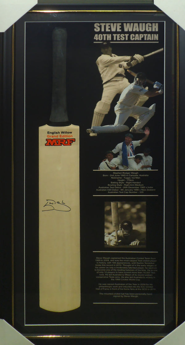 Steve Waugh Signed & Framed Cricket Bat