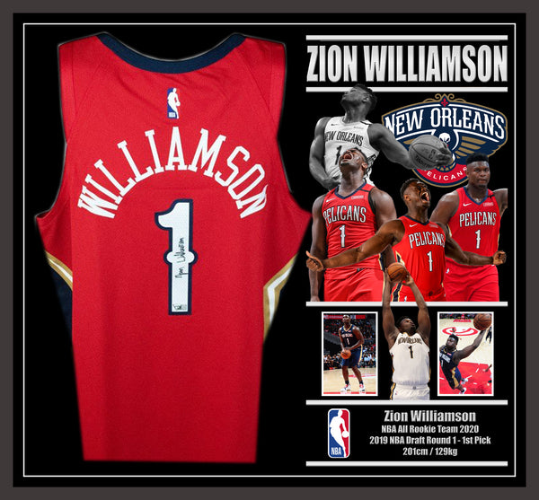 Zion WILLIAMSON New Orleans Pelicans Signed & Framed Jersey with Fanatics Authentication