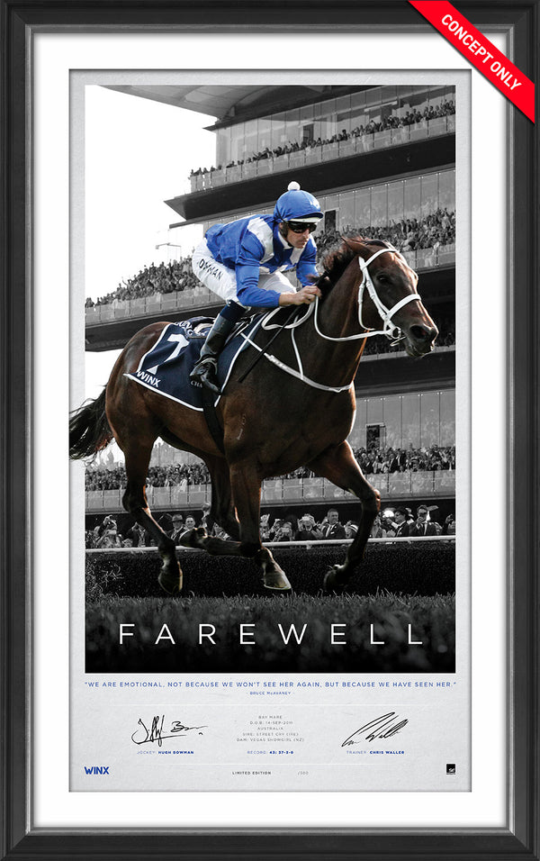 Winx - Dual Signed 'Farewell' Retirement Limited Edition - Hugh Bowman & Chris Waller