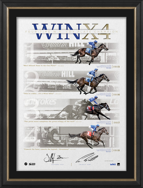 Winx 4 Cox Plates Dual Signed & Framed Official Limited Edition Lithograph - Bowman Waller