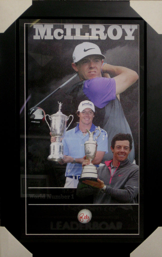 RORY McILROY - SIGNED & FRAMED TRIBUTE - PERSONALLY HAND SIGNED & MOUNTED GOLF BALL PSA DNA P42437