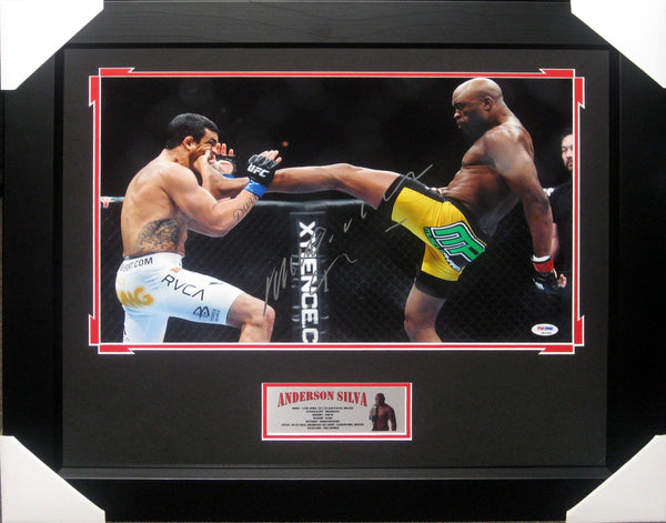 ANDERSON SILVA CELEBRATION HUGE UFC SIGNED FRAMED PSA DNA Q62999