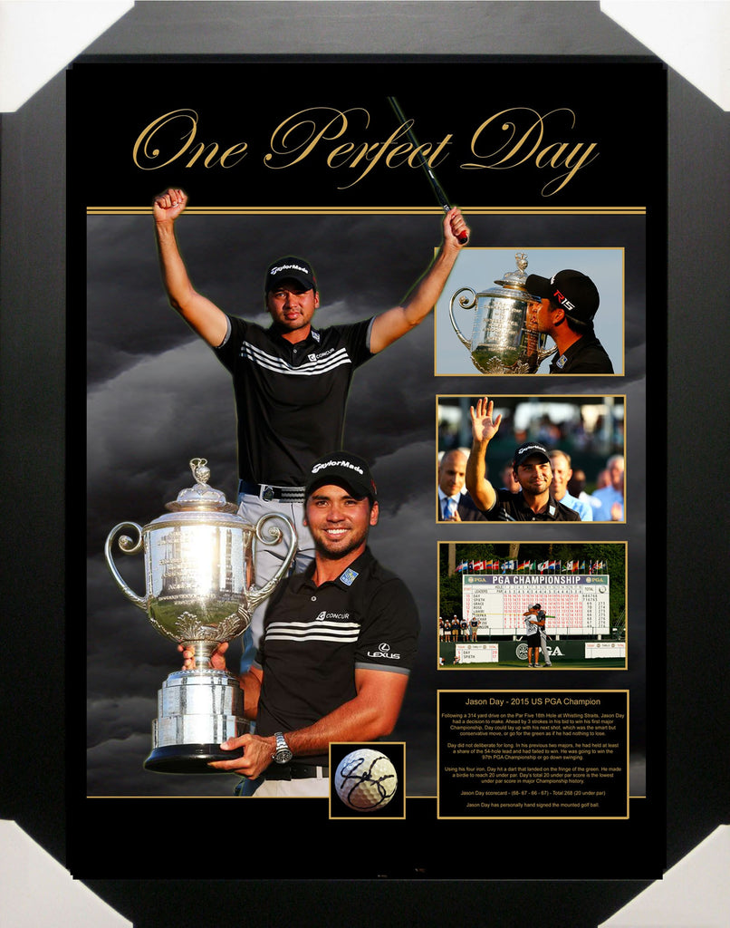 JASON DAY 2015 US PGA CHAMPION GOLF BALL SIGNED & FRAMED TRIBUTE