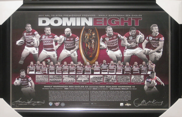 DominEIGHT Manly Sea Eagles - 2011 NRL PREMIERS Co-Captains Signed & Framed Lithograph