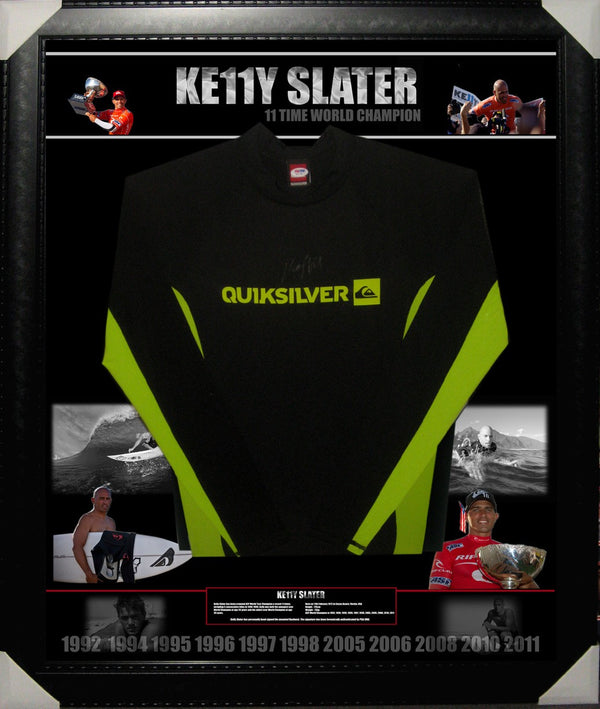 KELLY SLATER 11 TIME WORLD SURFING CHAMPION SIGNED & FRAMED RASHVEST PSADNA AUTHENTICATED