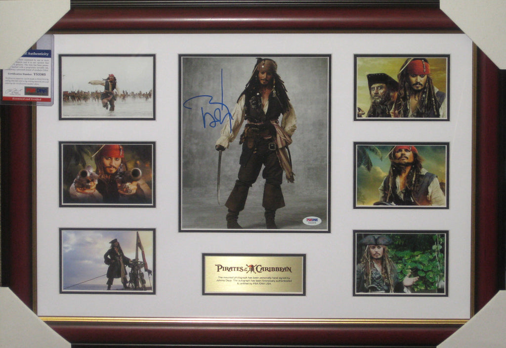 JOHNNY DEPP - PIRATES OF THE CARIBBEAN SIGNED & FRAMED PSA DNA AUTHENTICATED COLLAGE