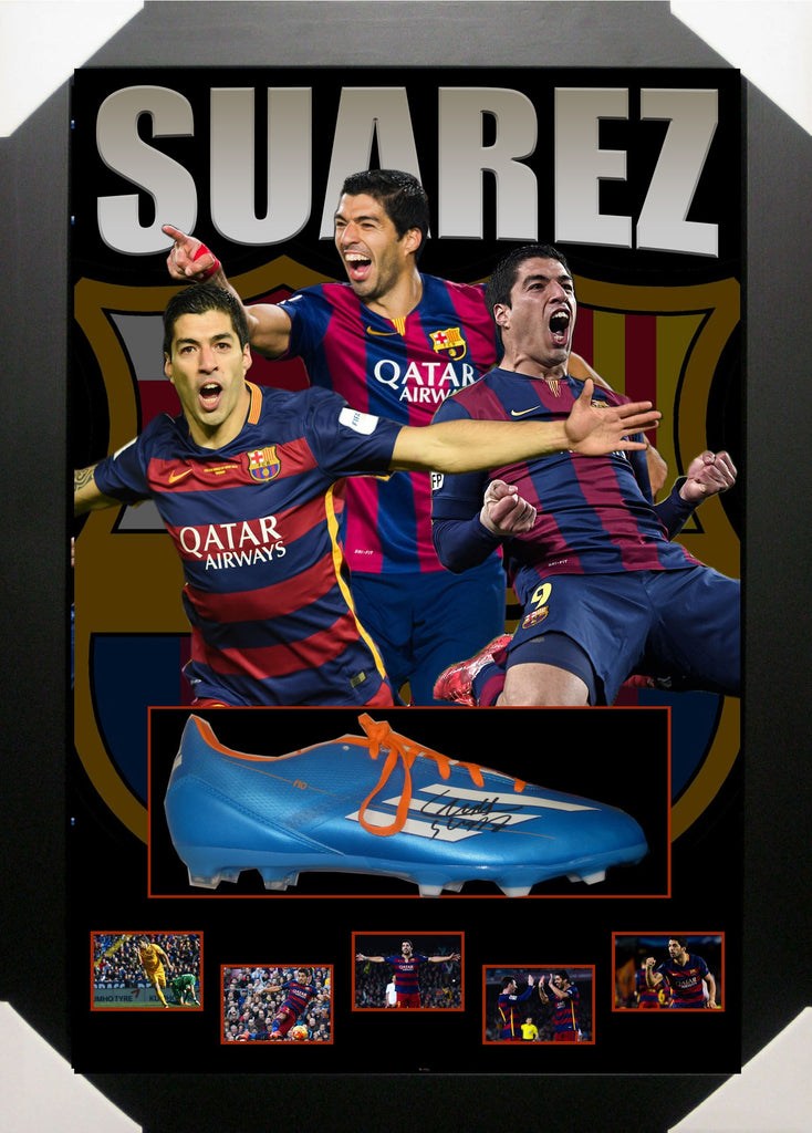 LUIS SUAREZ BARCELONA FC SIGNED & FRAMED FOOTBALL BOOT