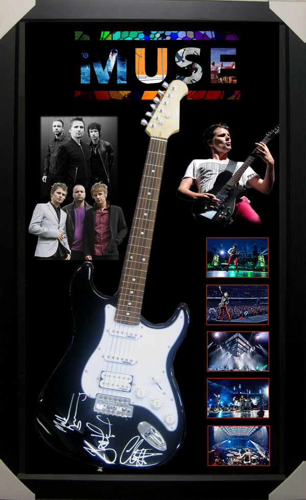 Muse Band Signed & Framed Electric Guitar - Photo Proof   Company Certificate of Authenticity