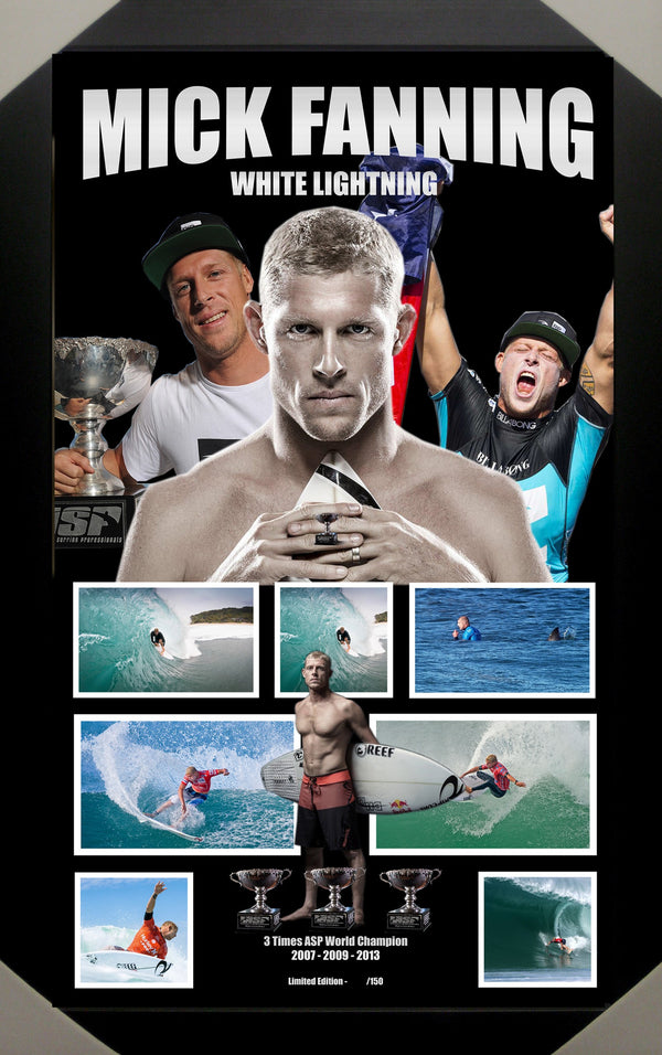 Mick Fanning Surfing Framed Limited Edition Lithograph