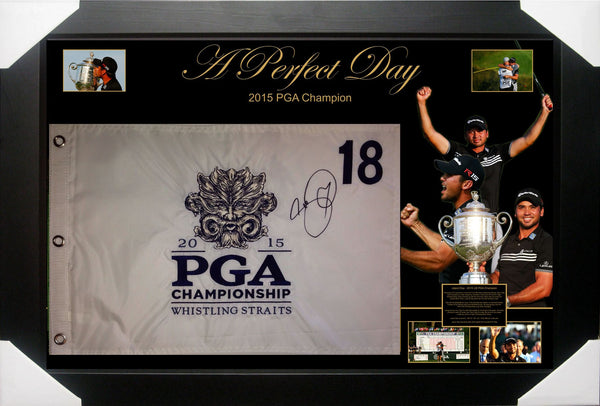 JASON DAY SIGNED & FRAMED USPGA CHAMPION PIN FLAG TRIBUTE - JSA JAMES SPENCE AUTHENTICATED