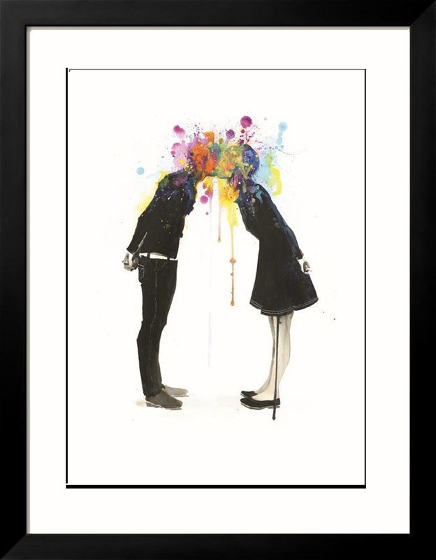 'Big Bang Kiss' - Lora Zombie Art Print Framed