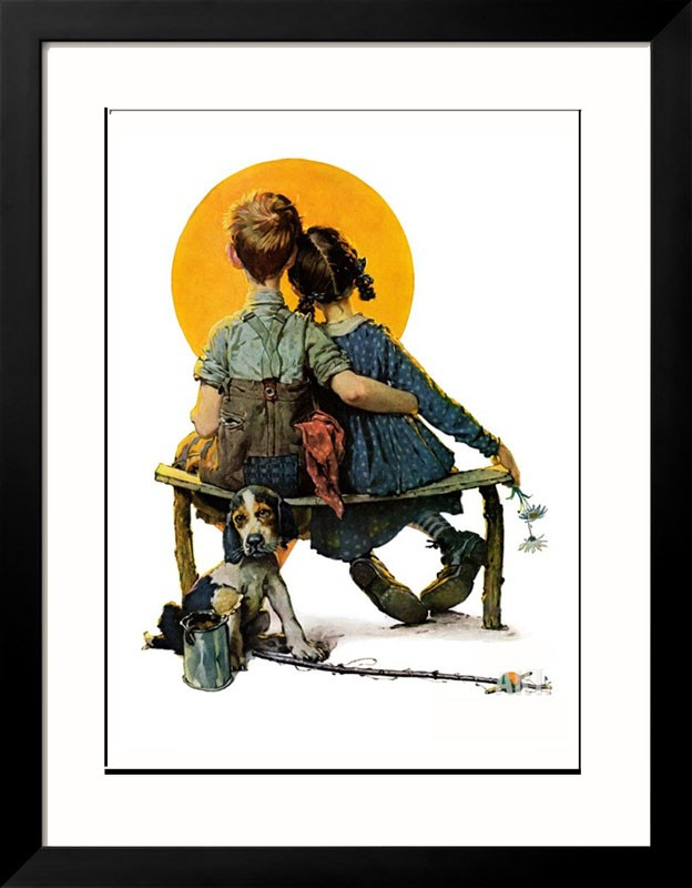 Little Spooners April 24, 1926 Fine Art Print Framed - Norman Rockwell