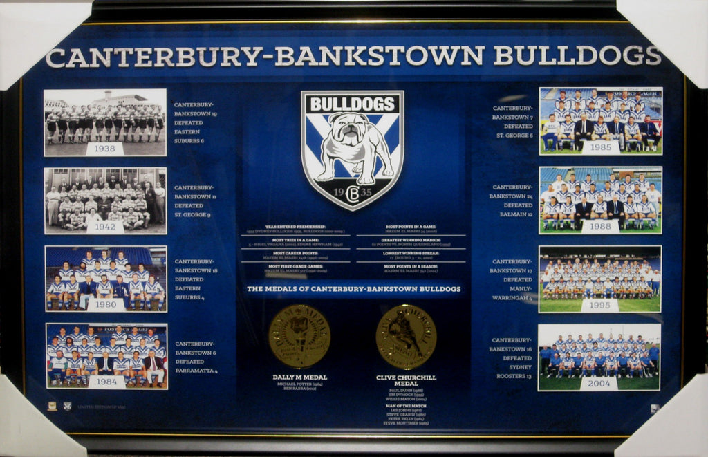 CANTERBURY BULLDOGS HISTORICAL PREMIERSHIPS NRL FRAMED LIMITED EDITION