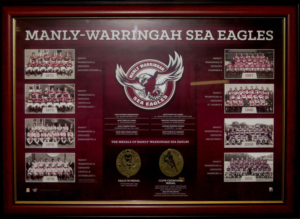 MANLY SEA EAGLES HISTORICAL PREMIERSHIPS FRAMED LIMITED EDITION