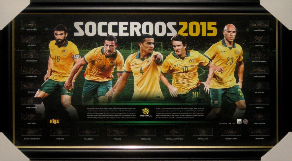2015 SOCCEROOS ASIAN CUP FULL SQUAD SIGNED & FRAMED LITHOGRAPH ATAG