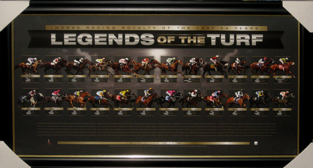 LEGENDS OF THE TURF FRAMED - LIMITED EDITION Feat Black Caviar Makybe Diva Kingston Town and many more