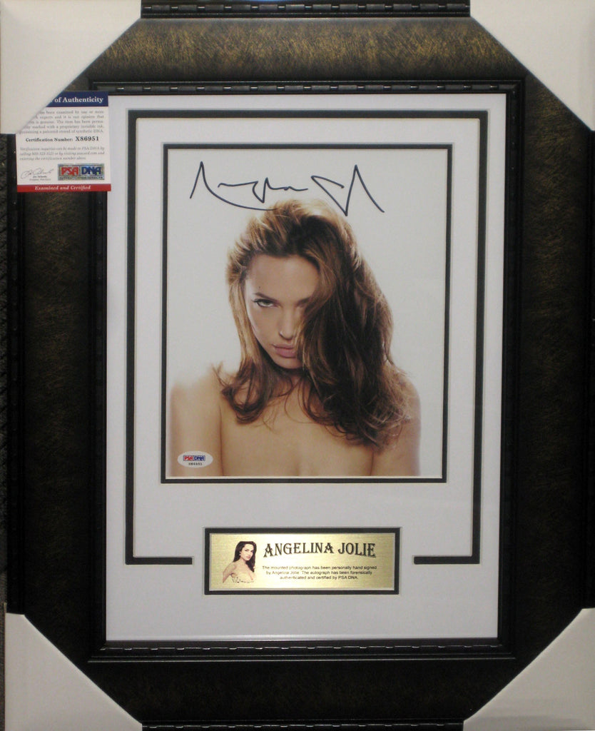 ANGELINA JOLIE - SEXY SIGNED & FRAMED 8 X 10 INCH PHOTOGRAPH PSA DNA AUTHENTICATED X86951