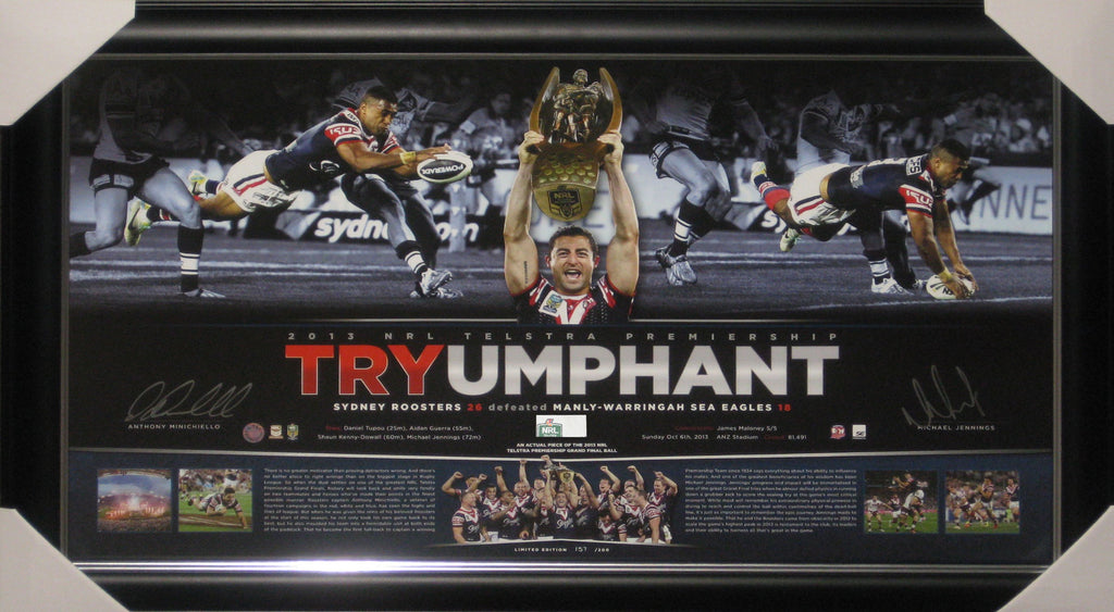 2013 TRYUMPHANT DUAL SIGNED & FRAMED LITHOGRAPH WITH PIECE OF NRL GRAND FINAL MATCH BALL