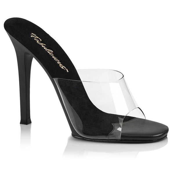 Fabulicious Gala-01, 4-1/2 inch IFBB Approved Fitness Posing Shoes - Clear/ Black - Pleaser Shoes