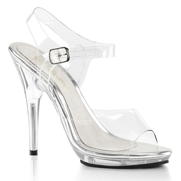 Fabulicious Poise-508, 5-inch Bikini Figure Competition Shoes (not IFBB Approved) - Clear - Pleaser Shoes