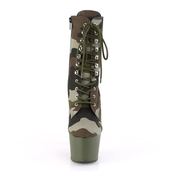 Pleaser Adore-1018, 7-inch Army Print Pole Dancing Boots - Camouflage - Pleaser Shoes