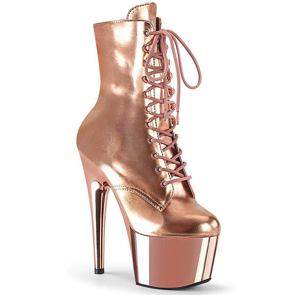 Pleaser Adore-1020, 7-inch Exotic Pole Dance Boots for Beginners - Rose Gold - Pleaser Shoes