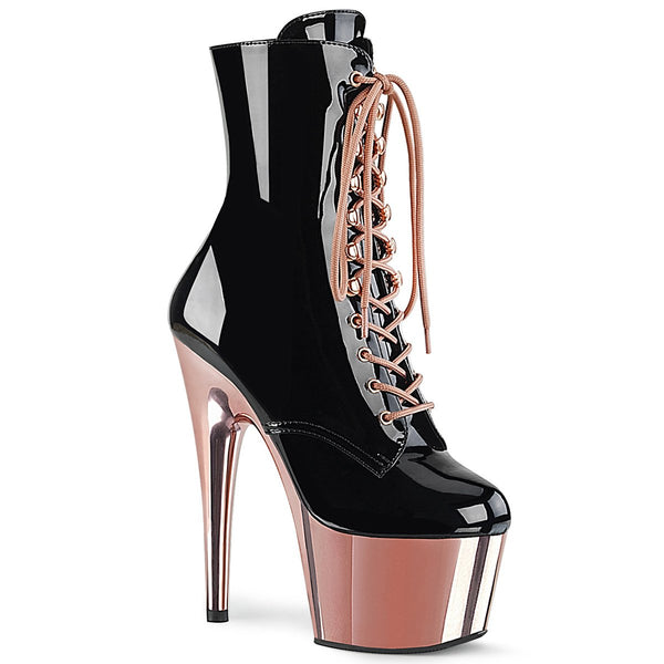Pleaser Adore-1020, 7-inch Patent Pole Dance Pleasers - Rose Gold - Pleaser Shoes