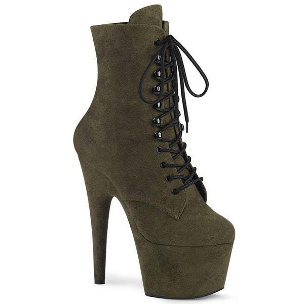 Pleaser Adore-1020-FS, 7-inch Faux Suede Exotic Dancer Boots - Dark Green - Pleaser Shoes