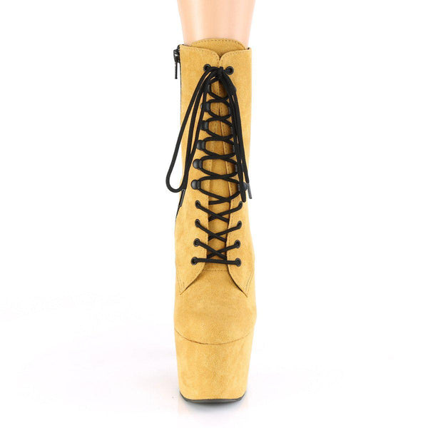Pleaser Adore-1020-FS, 7-inch Faux Suede Exotic Pole Boots - Mustard - Pleaser Shoes