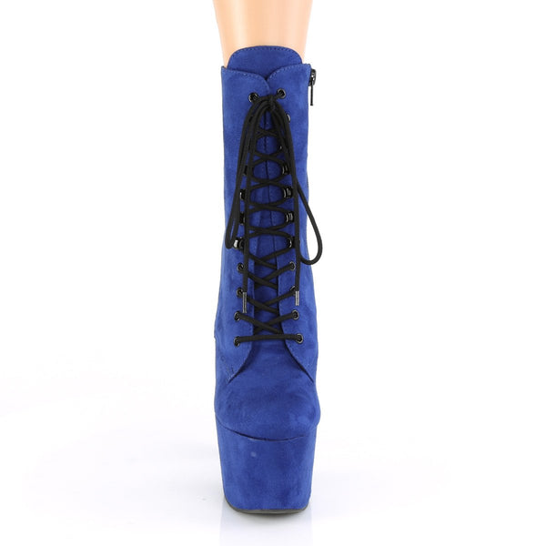 Pleaser Adore-1020-FS, 7-inch Faux Suede Exotic Pole Boots - Royal Blue - Pleaser Shoes
