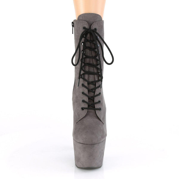 Pleaser Adore-1020-FS, 7-inch Faux Suede Pole Dancer Boots - Grey - Pleaser Shoes