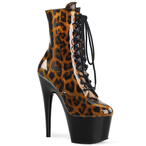 Pleaser Adore-1020LP, Leopard High Heel Boots - Pleaser Shoes