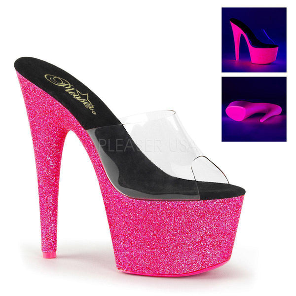 Pleaser Adore-701UVG, Neon UV Reactive Platform Heels - Pleaser Shoes