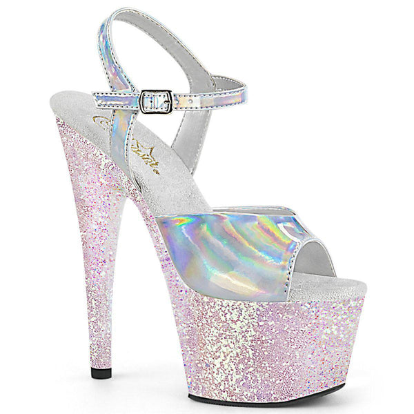 Pleaser Adore-709HGG, 7-inch Holographic Ankle Strap Sandals - Pleaser Shoes