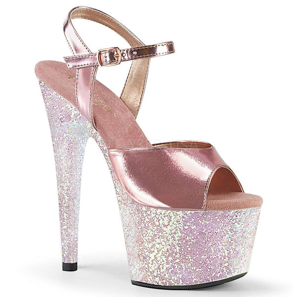 Pleaser Adore-709LG, Rose Gold Glitter Heels - Pleaser Shoes