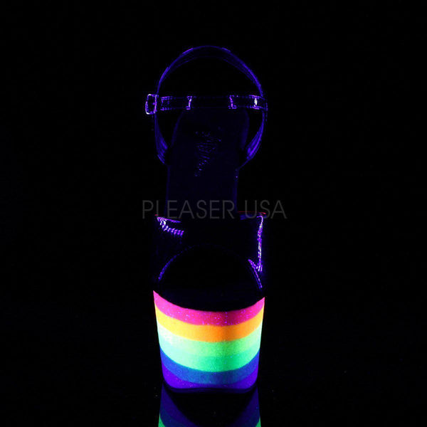 Pleaser Adore-709UVRB, Rainbow Neon Pole Dance Pleasers - Pleaser Shoes