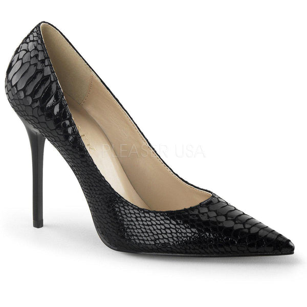 Pleaser Classique-20, Classic Black Leather Pleaser Pumps - Pleaser Shoes