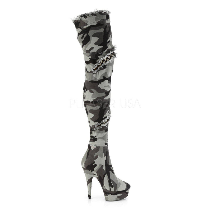 Pleaser Delight-3005, Camo High Heel Boots - Pleaser Shoes