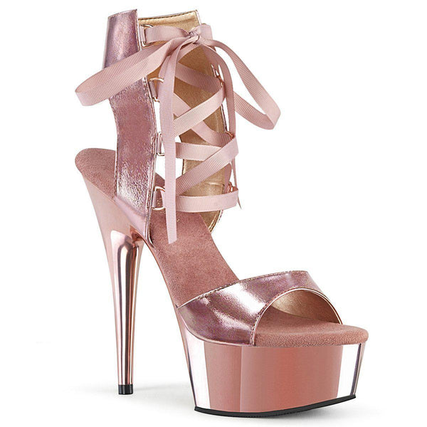 Pleaser Delight-600-14, 6-inch Rose Gold Faux Leather Vegan Sandals - Pleaser Shoes