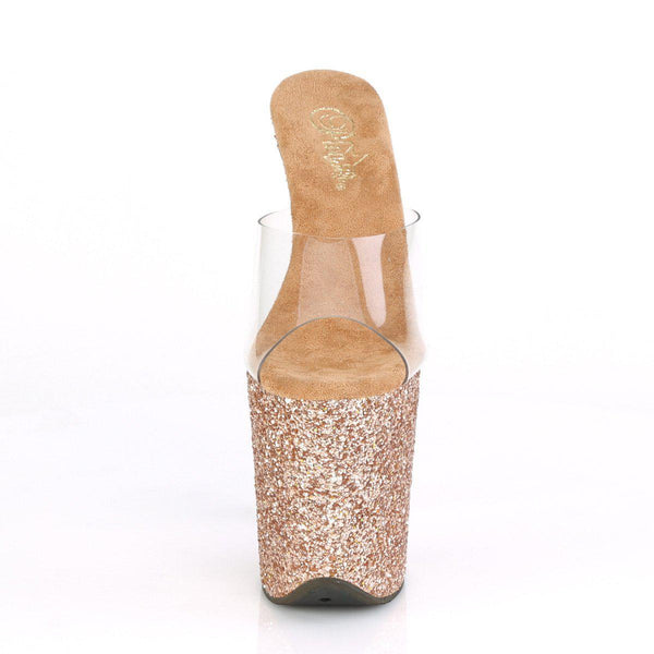 Pleaser Flamingo-801-LG, 8-inch Rose Gold Pleaser Shoes - Clear/ Rose Gold Glitters - Pleaser Shoes