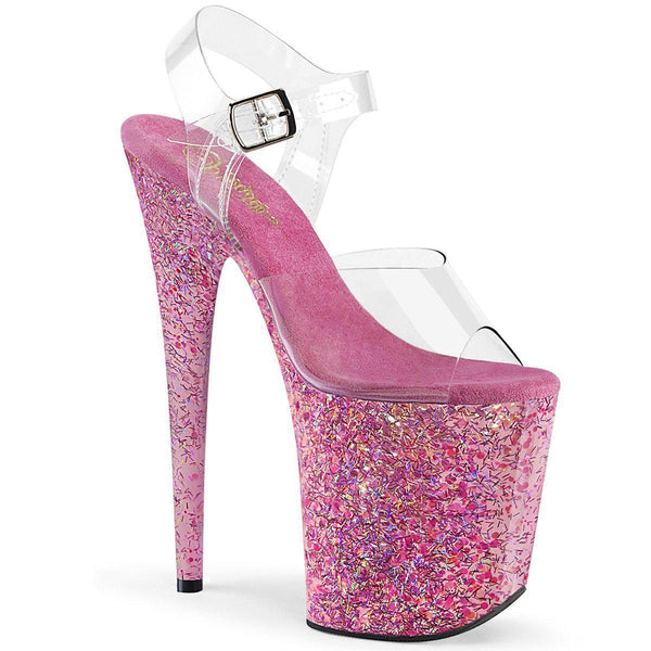Pleaser Flamingo-808CF, 8-inch Pink Glitter Ankle Strap Sandals - Pleaser Shoes