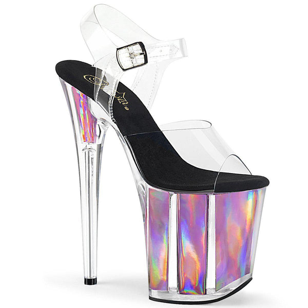Pleaser Flamingo-808HGI, 8-inch Chrome Hologram Platform Ankle Strap Sandals - Pleaser Shoes