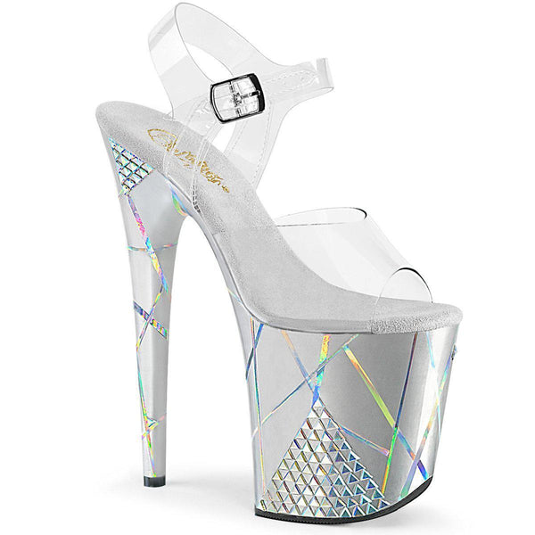 Pleaser Flamingo-808SHAPE-1, 8-inch Holographic Chrome Plated Ankle Strap Sandals - Pleaser Shoes