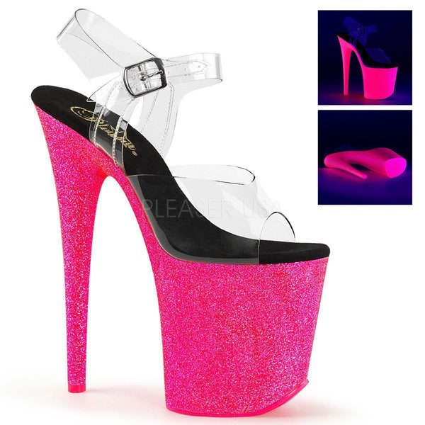 Pleaser Flamingo-808UVG, Neon UV Glitter Pole Dance Heels - Pleaser Shoes
