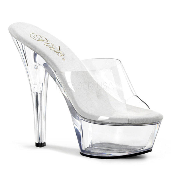 Pleaser Kiss-201, Pleaser Transparent Clear High Heels - Pleaser Shoes