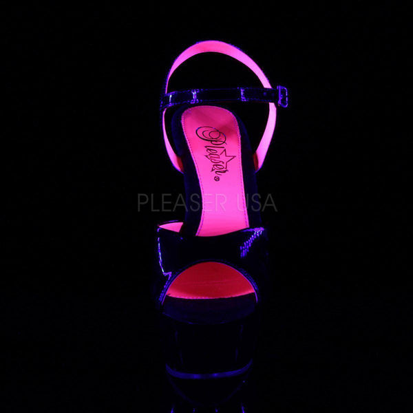 Pleaser Kiss-209TT, Neon Pink UV Reactive Pole Dance Pleasers - Pleaser Shoes