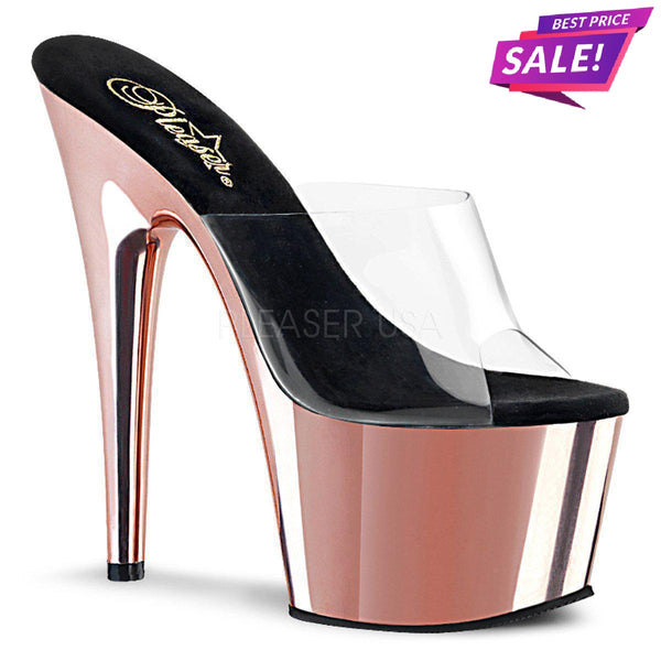 PLEASER SALE - Pleaser Adore-701, 7-inch Rose Gold Pleasers - Size 36 SAME DAY SHIPPING - Pleaser Shoes