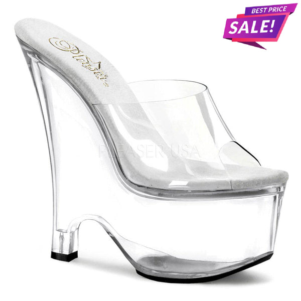 PLEASER SALE - Pleaser Beau-601, 6-inch Clear Wedge Heels - Size 35 SAME DAY SHIPPING - Pleaser Shoes