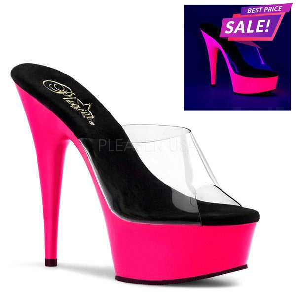 PLEASER SALE - Pleaser Delight-601UV, 6-inch Neon Pink Pleasers - Size 39 SAME DAY SHIPPING - Pleaser Shoes
