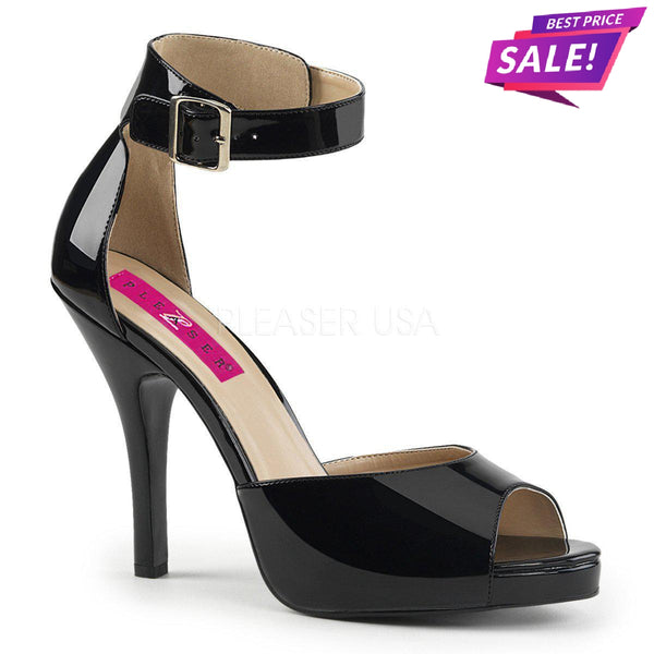 PLEASER SALE - Pleaser Eve-02, 5-inch Black Sandals - SAME DAY SHIPPING - Pleaser Shoes